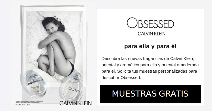 Pide las muestras gratis de Obsessed de Calvin Klein