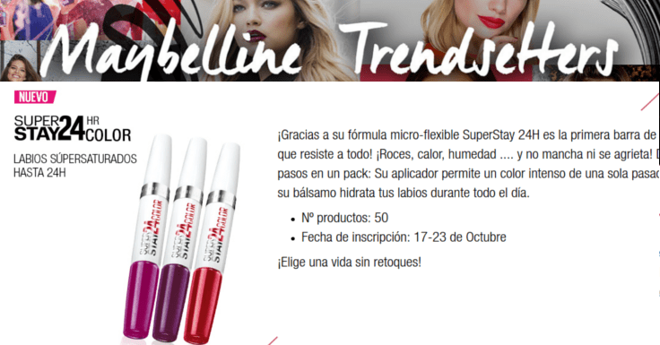 Consigue gratis la barra de labios SuperStay 24H de Maybelline
