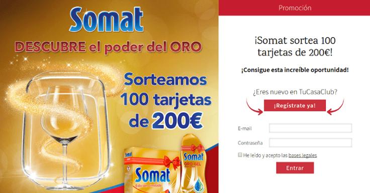 Llévate gratis una tarjeta de 200 Euros con Somat