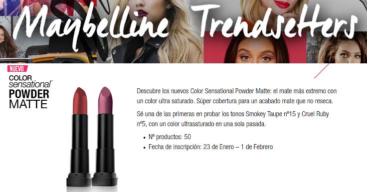 Prueba gratis el nuevo Color Sensational Powder Matte de Maybelline
