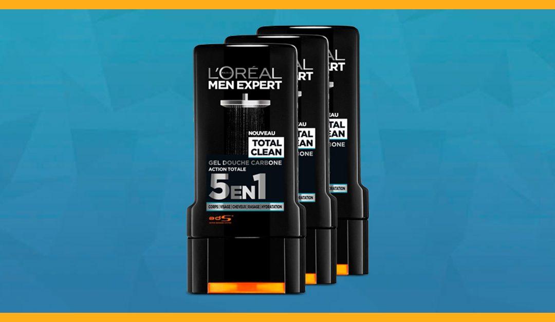 Consigue gratis una muestra del gel de ducha Total Clean de L'Oréal Men Expert