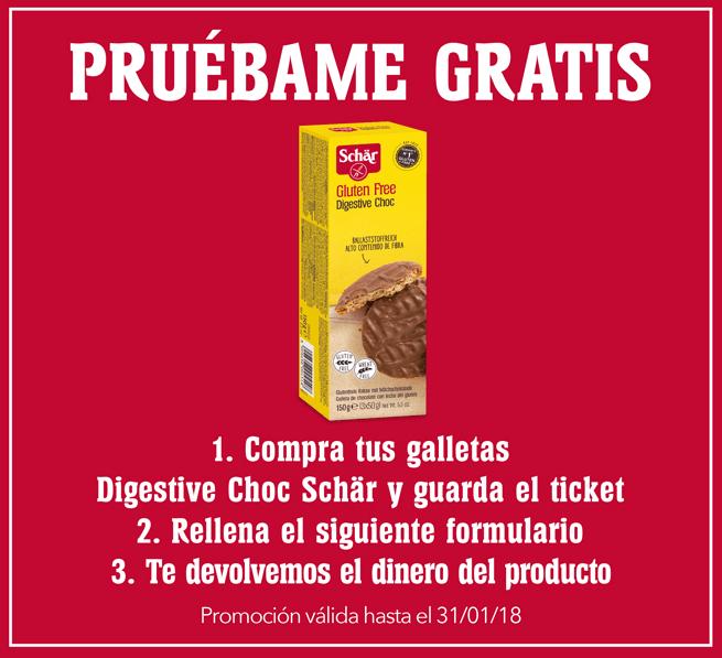 Disfruta gratis de las galletas Digestive Choc Schär, ¡sin gluten!