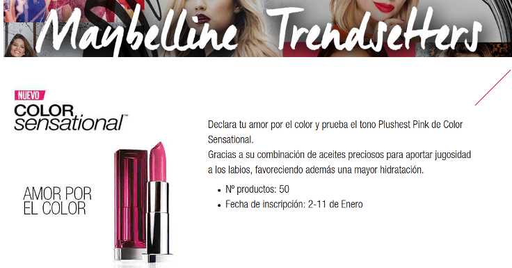 Prueba gratis el labial Color Sensational de Maybelline