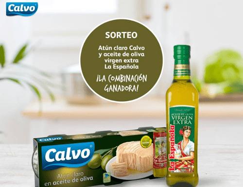 Consigue 1 pack de Atún claro Calvo y aceite de oliva virgen extra La Española