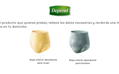 muestra gratis de la ropa interior absorbente Depend